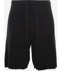 laneus knitted bermuda shorts with fringed hem