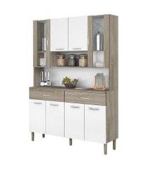 kit cozinha compacta armário golden 08 portas nogal/white - kit's paraná