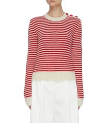 buttoned shoulder striped cashmere sweater