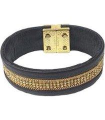 pulseira armazem rr bijoux couro cristais preta - feminino