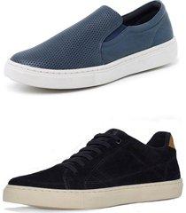 kit 2 sapatenis sandalo soft marinho basic preto