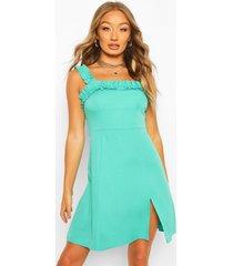 ruffle strap square neck swing dress, bright green