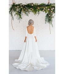 scoop 3/4 sleeves open back sweep train a line long white satin wedding dress