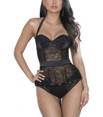 icollection women's elegant peplum bustier and panty set