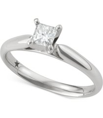 macy's star signature diamond princess solitaire engagement ring (1/2 ct. t.w.) in 14k white gold