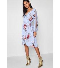 boutique bloemenprint wikkel jurk met mouwsplit, hemelsblauw