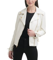 guess faux-leather asymmetrical moto coat
