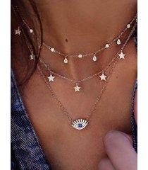 conjunto de collar de múltiples capas gold star eye colgante