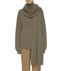 rib knit mock neck sweater and scarf set