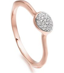 siren diamond small stacking ring, rose gold vermeil on silver