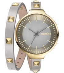 rumbatime orchard double wrap pewter women's watch