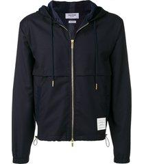 thom browne center-back stripe wool hoodie - blue