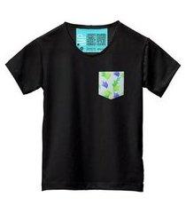 camiseta masculina algodão bolso estampa folha conforto