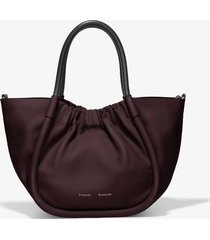 proenza schouler small ruched crossbody tote chocolate plum/brown one size