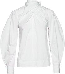 blouse blus långärmad vit ganni
