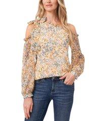 cece petite floral-print one-shoulder blouse