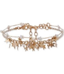 lonna & lilly gold-tone star beaded double-row ankle bracelet