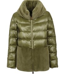 herno ultralight nylon cape with faux fur
