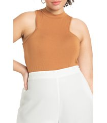 plus size women's eloquii cutout mock neck bodysuit, size 14w/16w - white