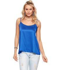blusa modisch slip top satin azul