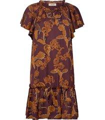 tikka africa dress ss jurk knielengte bruin mos mosh