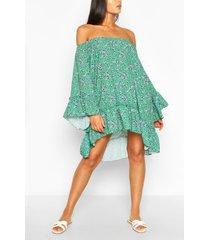 floral flared sleeve ruffle hem swing dress, green