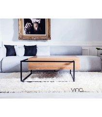 stolik kawowy lity dębowy drewno design loft dąb