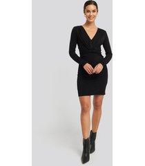 na-kd party deep v knot glittery dress - black