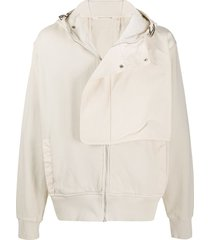 1017 alyx 9sm panelled front hooded jacket - neutrals