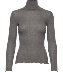 wool t-shirt turtleneck regular ls t-shirts & tops long-sleeved grijs rosemunde