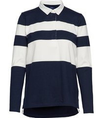 d1. striped heavy rugger t-shirts & tops polos blauw gant