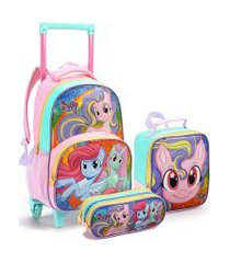 kit mochila infantil com rodinhas sweet pony com lancheira e estojo duplo