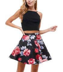 city studios juniors' 2-pc. square-neck top & floral-print dress
