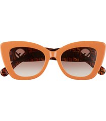 women's fendi 52mm sunglasses - orange havana/ brown gradient