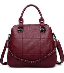 donna solid 3 strati cuciture per il tempo libero spalla borsa catena per il tempo libero crossbody borsa