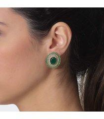 brinco rosa pinhal cristal verde esmeralda e zircã´nias b. ouro 18k - dourado - feminino - dafiti