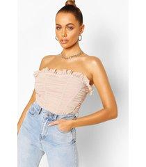 longline mesh corset top, stone