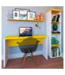conjunto de mesa com estante e prateleira de escritório corp branco e amarelo