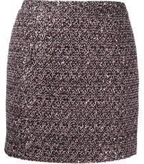 alessandra rich high-rise tweed mini skirt - black