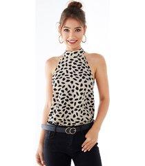 yoins beige printed halter sleeveless top