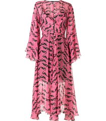 eva jacaré silk midi dress - pink