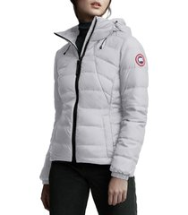 canada goose abbott packable hooded 750 fill power down jacket, size small in silverbirch at nordstrom