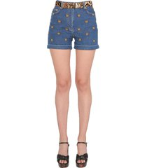 moschino shorts with embroidered teddy