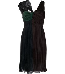 prada pre-owned twisted detail gathered dress - black