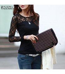 zanzea otoño mujer blusas moda camisas delgadas blusa encaje manga larga o cuello tops tallas grandes negro -negro