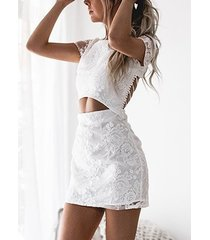 white floral lace cutout waist criss-cross back two piece mini dress