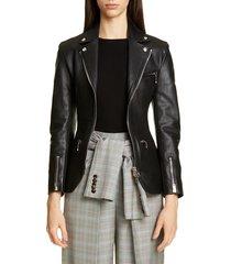 women's alexander wang ball chain leather moto jacket, size 2 - black