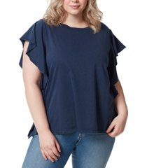 frayed trendy plus size ophelia cotton ruffled t-shirt