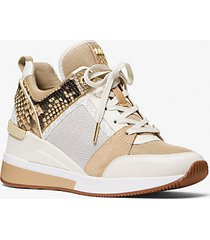 mk sneaker georgie in materiale misto - cammello (marrone) - michael kors