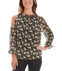 bcx juniors' floral cold shoulder blouse